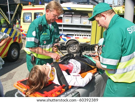 ROTTERDAM, HOLLAND - SEPTEMBER 5: Demonstration of ambulance personnel at the annual World Harbor Days in Rotterdam, Holland on September 5, 2010