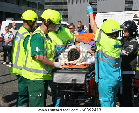 ROTTERDAM, HOLLAND - SEPTEMBER 5: Demonstration of handling of car crash victim by medics at the annual World Harbor Days in Rotterdam, Holland on September 5, 2010