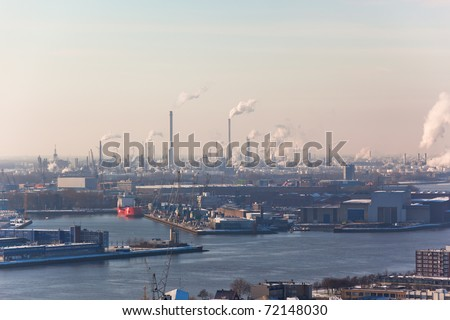 Rotterdam Industrial area. harm to the environment. View from Euromast tower.
