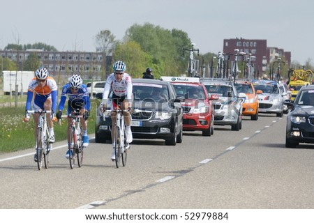 ROTTERDAM - MAY 10: Giro d'Italia - Group of Cyclists from Various Teams During Stage 2 of the Giro d'Italia are cycling from Amsterdam  to  Middelburg, may 10 2010 in Rotterdam, Netherland