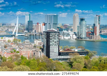 Rotterdam, Netherlands. City skyline on a beautiful sunny day.