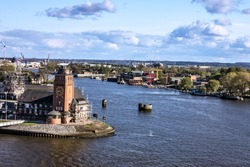 Rotterdam, Netherlands. Old lighthouse tower in harbor
