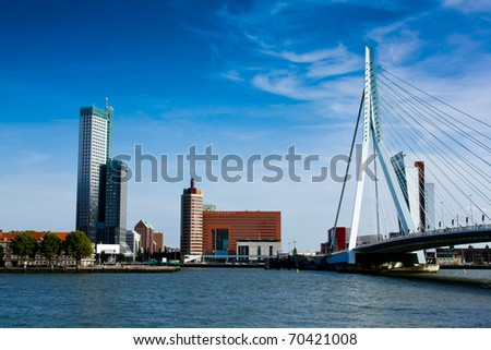 rotterdam panorama with erasmus bridge