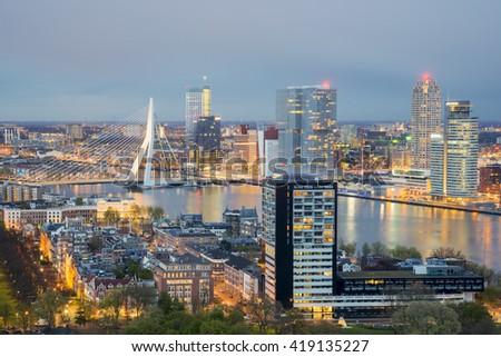 Rotterdam Skyline at night in Rotterdam, Netherlands.