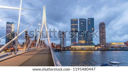 Rotterdam skyline. Beautiful view after sunset. Stockfoto ©