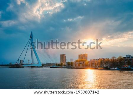 Rotterdam skyline cityscape with Erasmusbrug bridge over Nieuwe Maas in contre-jur on sunse, Netherlands. Photo stock ©
