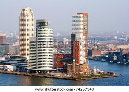 Rotterdam skyline on a cold winter day