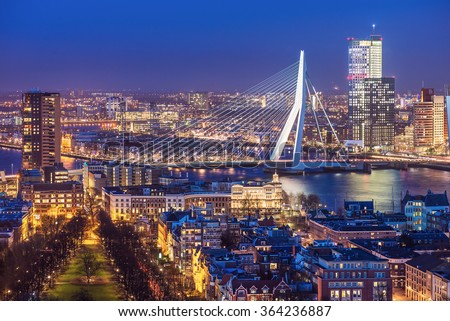 Rotterdam skyline with Erasmus bridge at twilight as seen from the Euromast tower, The Netherlands Stockfoto ©