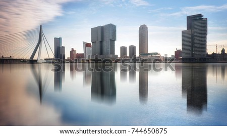 Rotterdam Skyline with Erasmusbrug bridge, Netherlands. Stockfoto ©