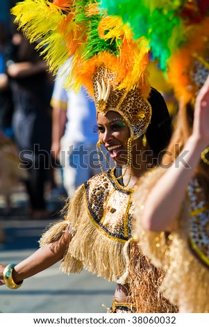 ROTTERDAM, THE NETHERLANDS - JULY 25: Beautiful girl in the parade of the annual Summer Carnival in Rotterdam on July 25, 2009 in Rotterdam, The Netherlands