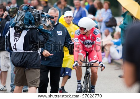 ROTTERDAM, THE NETHERLANDS - JULY 3 : Tour de France - annual bicycle race. Cyclist giving interview on first day of competition - prologue race on the city streets on July 3, 2010 in Rotterdam