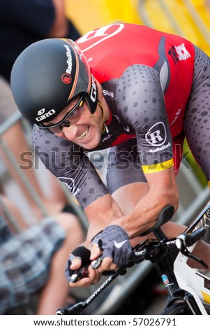 ROTTERDAM, THE NETHERLANDS - JULY 3 : Tour de France - annual bicycle race. Lance Armstrong during the first day of competition - prologue race on the city streets on July 3, 2010 in Rotterdam - stock photo