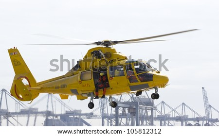 ROTTERDAM, THE NETHERLANDS - JUNE 6: A helicopter for rescue operations and transporting roughnecks to offshore rigs in Rotterdam on June 6, 2012