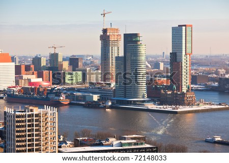 Rotterdam view from Euromast tower at winter sunny day. another  Rotterdam views available