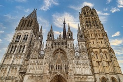 Rouen Cathedral (Cathedrale de Notre-Dame) in Rouen, capital of Haute-Normandie, France. The facade of the Gothic church building.