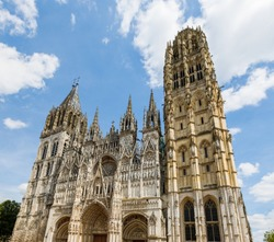Rouen Cathedral (Cathedrale de Notre-Dame) in Rouen, capital of Haute-Normandie. The facade of the Gothic church building. Travel France.