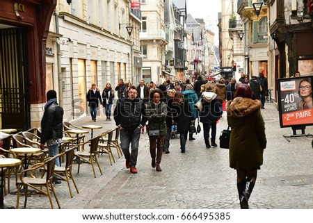 Rouen, France - november 26 2016 : the historical city center in winter