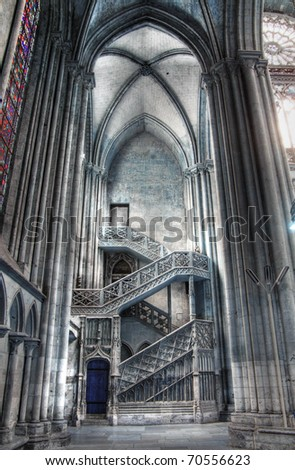 Rouen gothic cathedral, HDR shot of inside stairs
