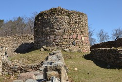 Rougemont castle in the Vosges, a 12th century fortress located in the Territoire de Belfort, listed as a historical monument