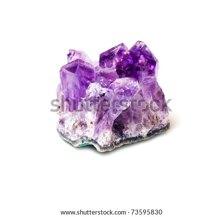 Rough amethyst isolated on white
