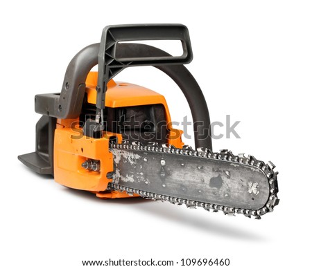 Rough big orange chain saw front view isolated on white