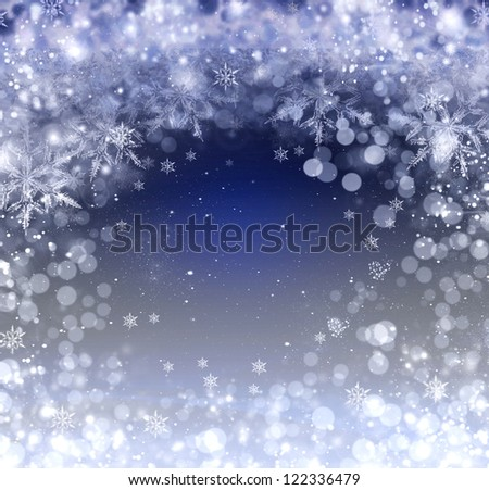 rough blue holiday cover with many snowflakes