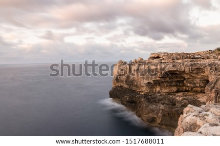 Rough coastline on mallorca spain long exposure