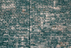 Rough Dark Blue Brick Wall Surface. Light Green Old Blocks Grunge Material Filtered. Faded Distressed Mortar Brickwall Background.