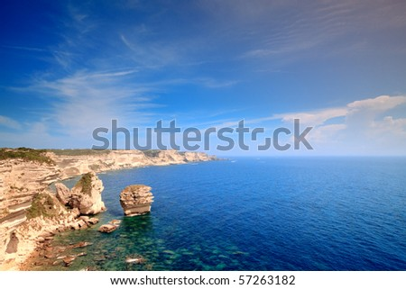 Rough landscape with cliffs and ocean, Bonifacio, Corsica, France