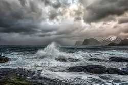 Rough sea and big Waves. If you are traveling Lofoten with a camper in winter and you are into surfing you should give it a shot. You will find perfect conditions to surf in Unstad and Flakstad Beach.