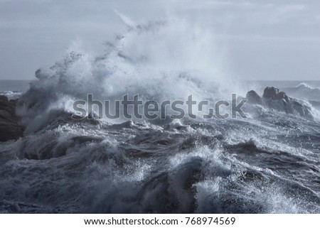 Rough sea on the rocky northern portuguese coast