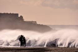 Rough Sea with Large Waves Breaking on the Coast