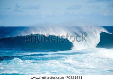 rough seas at La Fajana, Barlevento, La Palma, Canary islands, Spain - stock photo