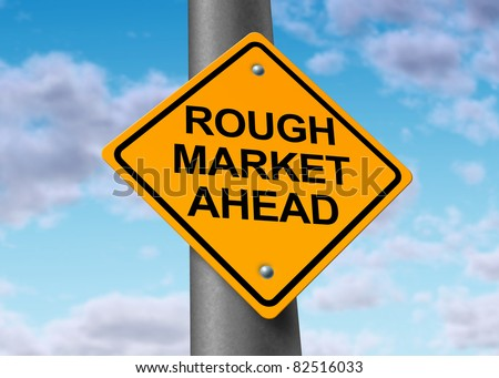 Rough stock market ahead road symbol representing the volatile swings and corrections in the equities trading of wall street and all exchanges of  business funds.