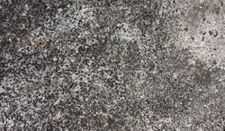 Rough texture of a loft wall made of small black pebbles in gray cement. Photo of a crumbling stone wall made of cement and small stones. Texture overlay with a light background for rough effects.