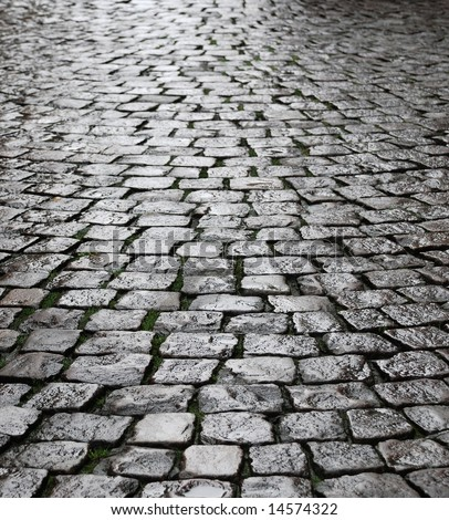Rough texture of wet block pavement, Saint Malo old side-street