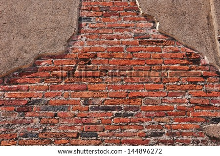 rough wall background of red bricks texture,Thailand