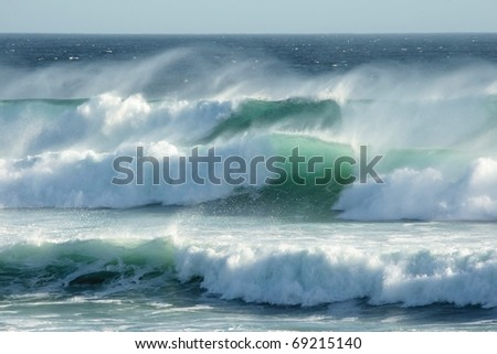 Rough windswept waves off the South African shore