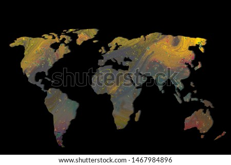 Roughly outlined world map with a colorful background patterns #1467984896
