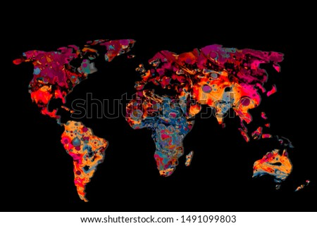 Roughly outlined world map with a colorful background patterns #1491099803