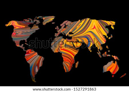Roughly outlined world map with a colorful background patterns #1527291863