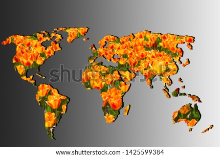 Roughly outlined world map with a gray background #1425599384