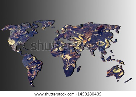 Roughly outlined world map with a gray background #1450280435