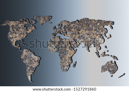 Roughly outlined world map with metal filling on gray background #1527291860