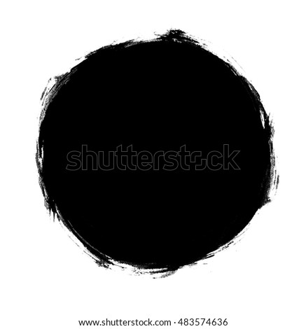 Roughly painted filled black circle  (isolated) #483574636