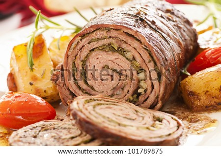 Roulade with roasted vegetables