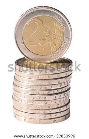 Rouleau of euro coins on a white background