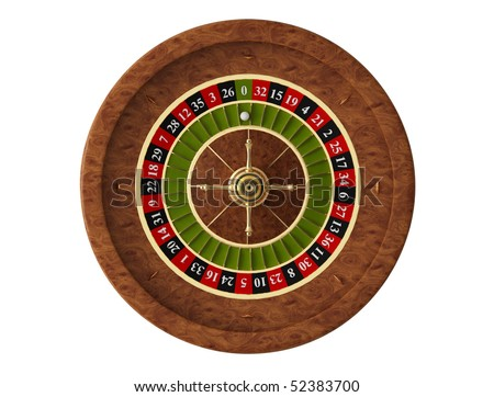 roulette, casino on white background - stock photo