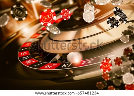 Roulette Spin Casino Chips Blow Concept 3D Rendered Illustration. Casino Gambling.