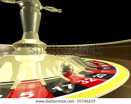 Roulette table side view close up 3D render